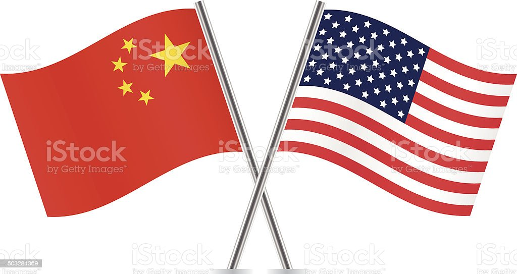 Chinese and American flags. vector art illustration