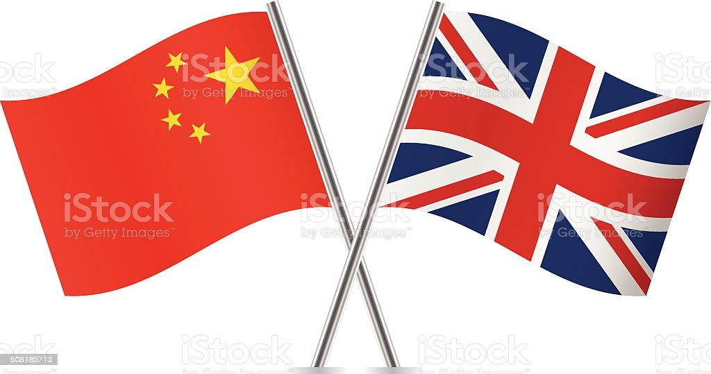 Chinese and British flags. Vector. vector art illustration