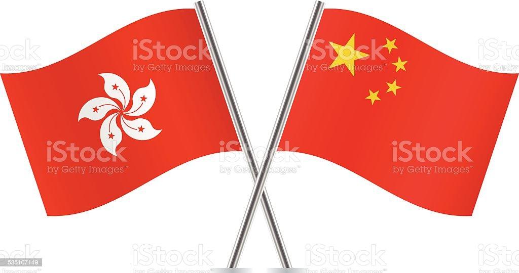Chinese and Hong Kong flags. Vector. vector art illustration