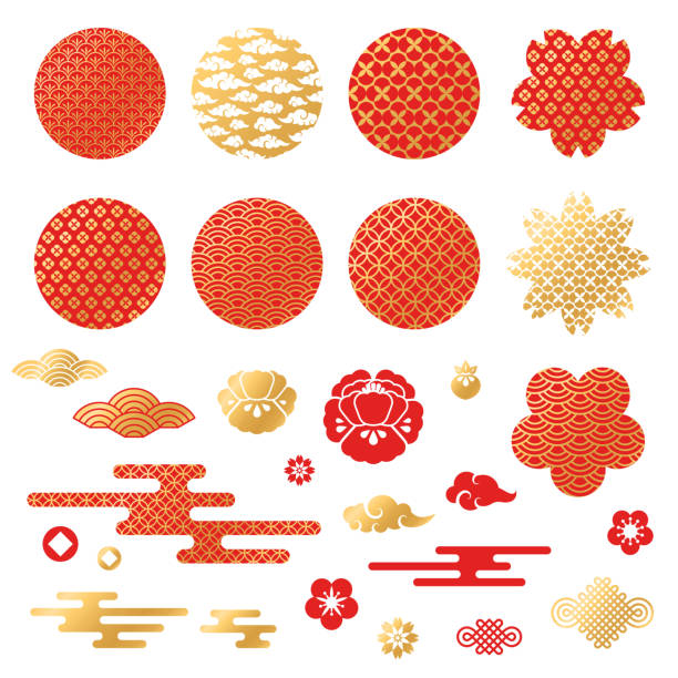 Chinese and japanese decorative icons, clouds, flowers Chinese and japanese decorative icons, clouds, flowers and patterns. Vector Illustration. Peony flowers, geometric ornaments in traditional red and gold colors japanese culture stock illustrations