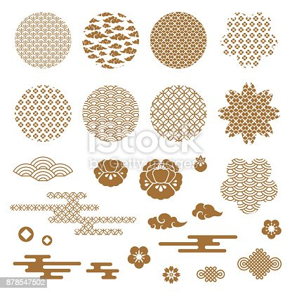Chinese and japanese decorative icons, clouds, flowers and patterns. . Vector Illustration. Peony flowers, geometric ornaments