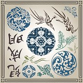 Chinese and japanese vector ornament set