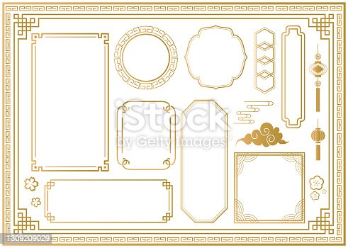 istock Chinese and oriental traditional frame material set 1309209029
