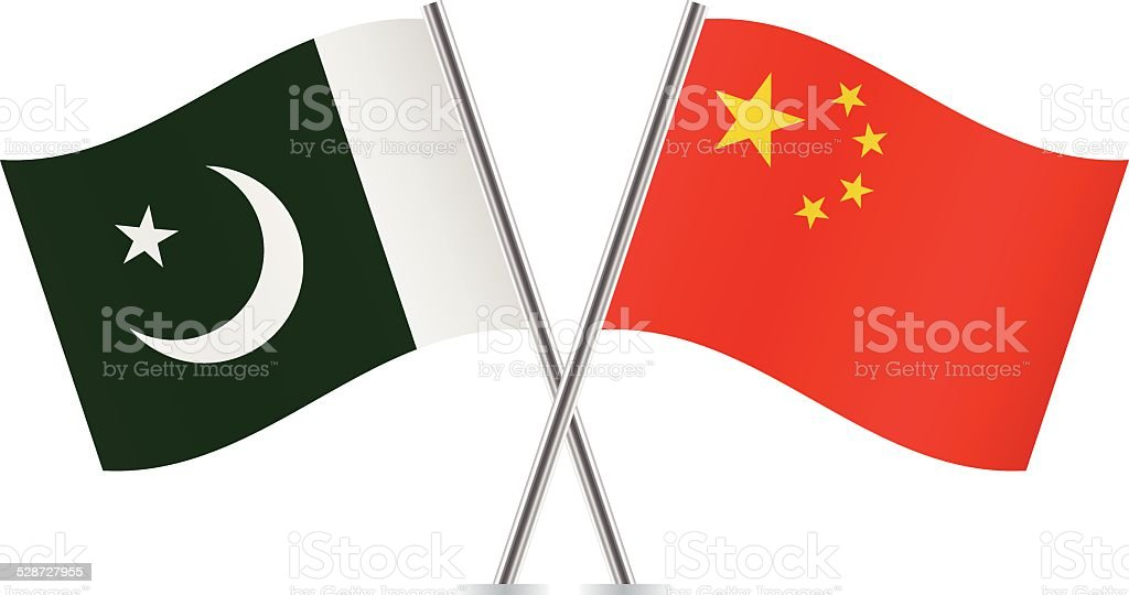 Chinese And Pakistan Flags Vector Stock Illustration