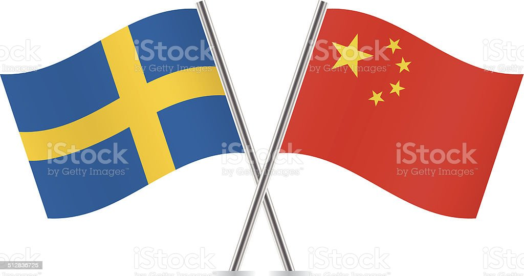 Chinese and Swedish flags. Vector. vector art illustration