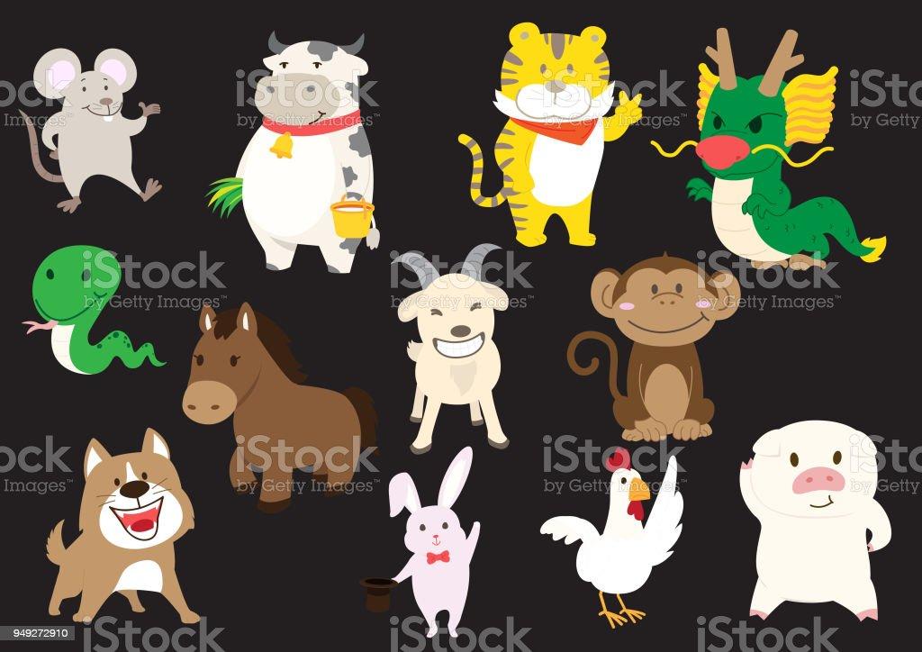 chinese animal zodiac signs vector art illustration