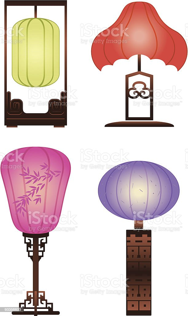 Chinese Antique Table Lamp vector art illustration