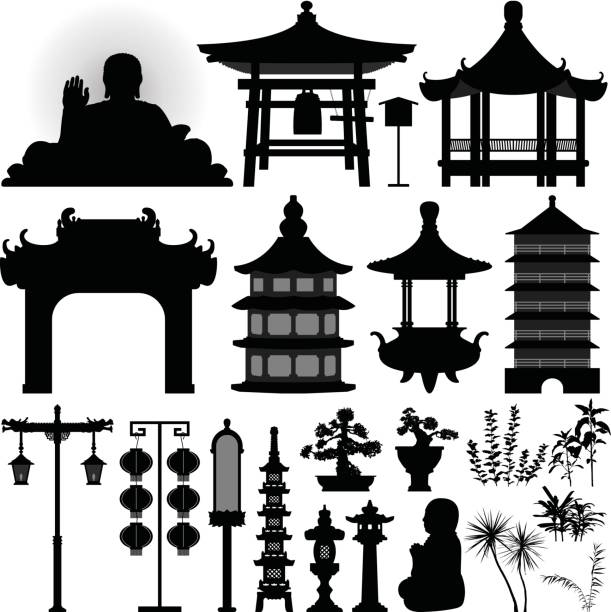 chinesische asiatische tempel schrein relikt in silhouette vektor - gartenskulpturkunst stock-grafiken, -clipart, -cartoons und -symbole