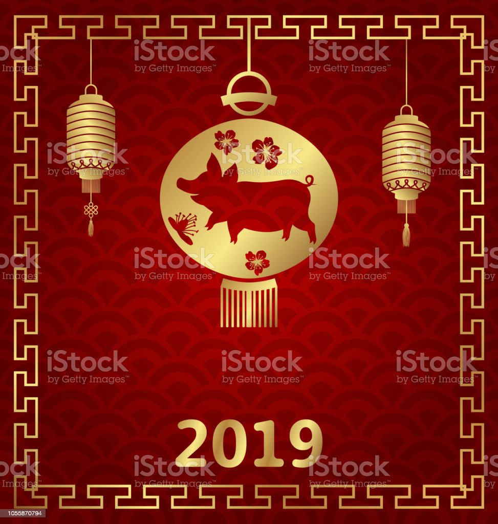chinese background for happy new year 2019 zodiac with pig sign royalty free chinese background