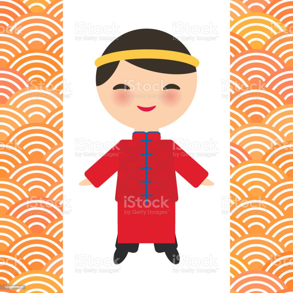 b4d2f071c Chinese boy in national costume and hat. Cartoon children in traditional  China dress. scales