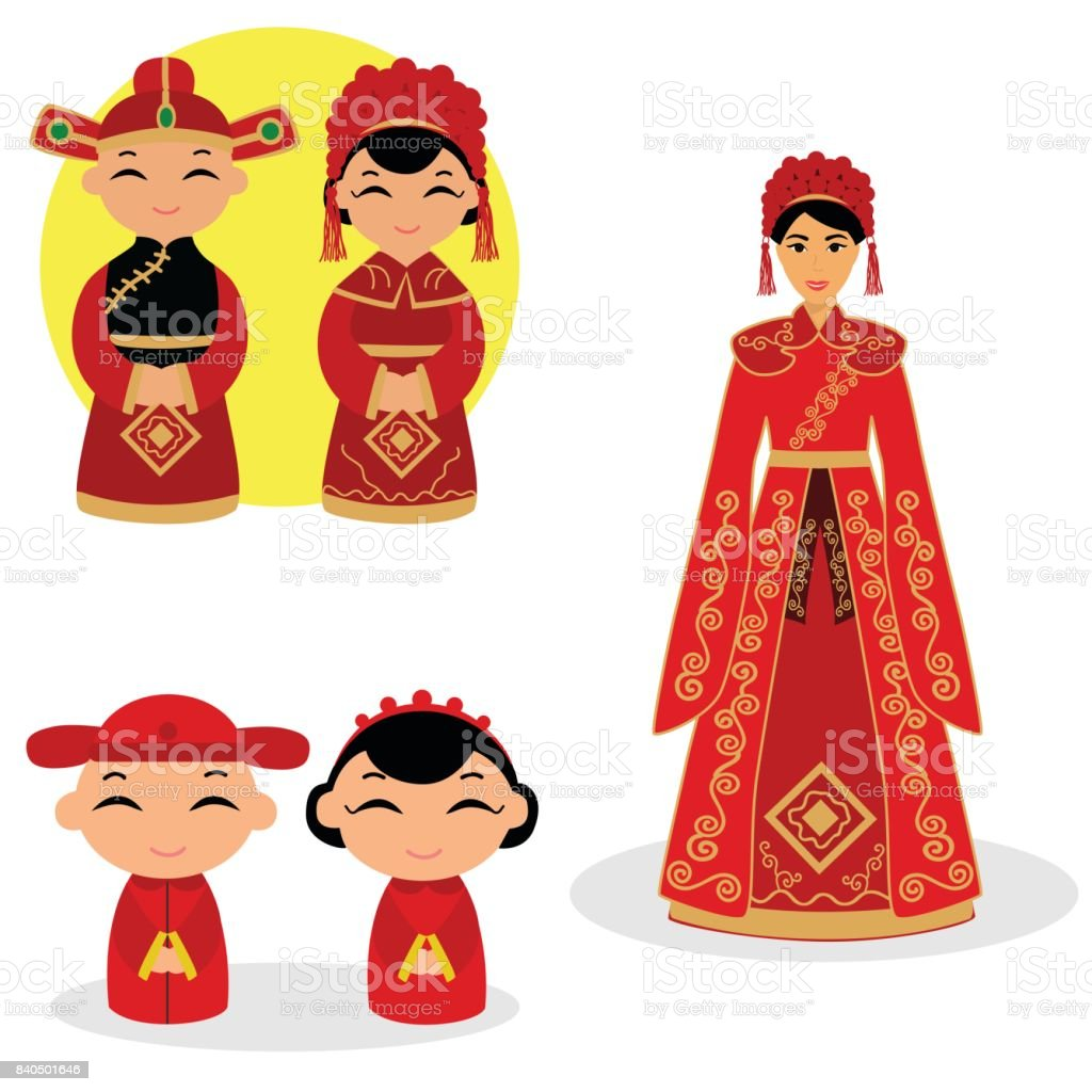 Chinese bride and groom. vector art illustration
