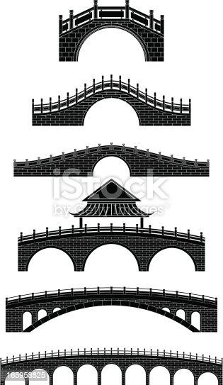 black and white chinese bridges,