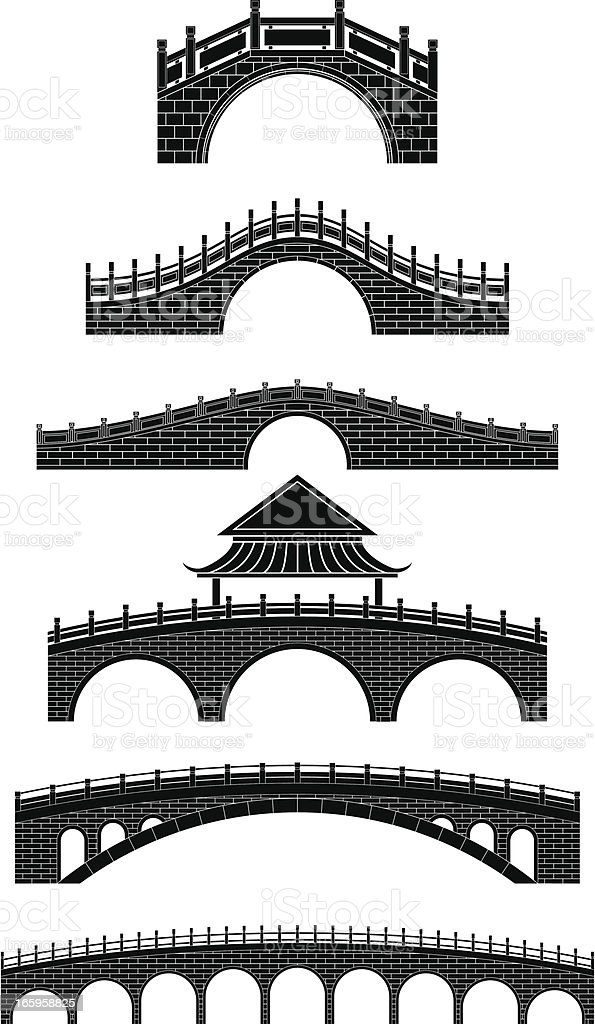 chinese bridges vector art illustration