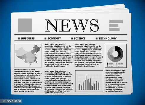Chinese business and economy on newspaper.