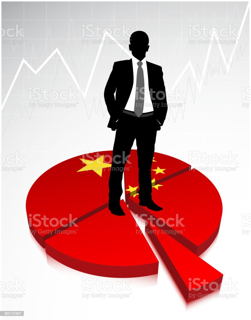 Chinese businessman is standing on the graph - Royalty-free Ayakta durmak Vector Art