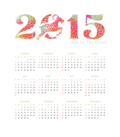 Chinese calendar 2015 year of the goat floral