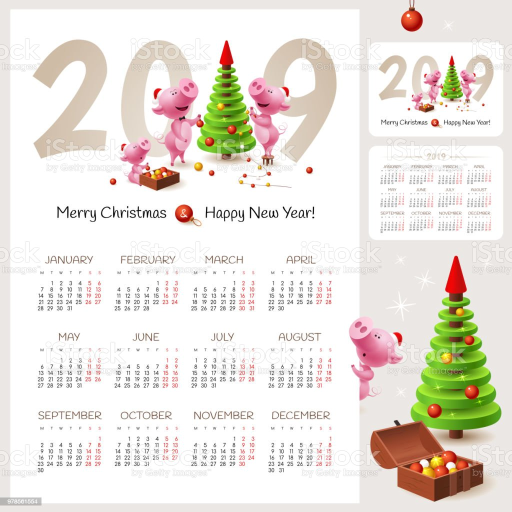 chinese calendar for happy new year 2019 year of the pig illustration with family of