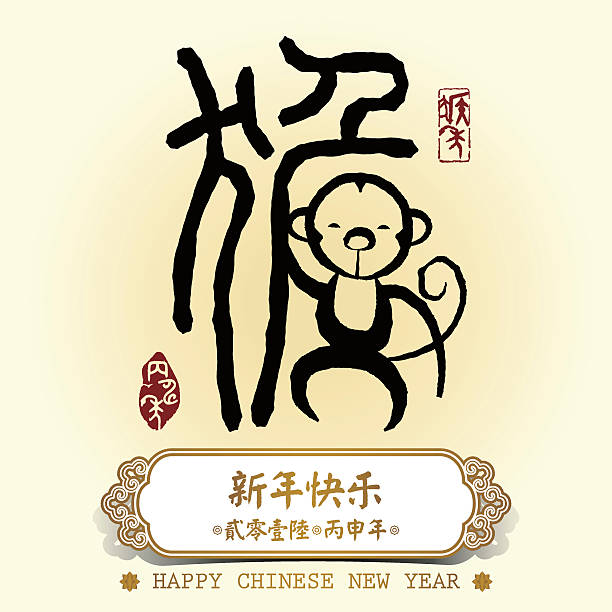 Chinese Calligraphy Meaning Is Monkey Stock Vector Art More Images