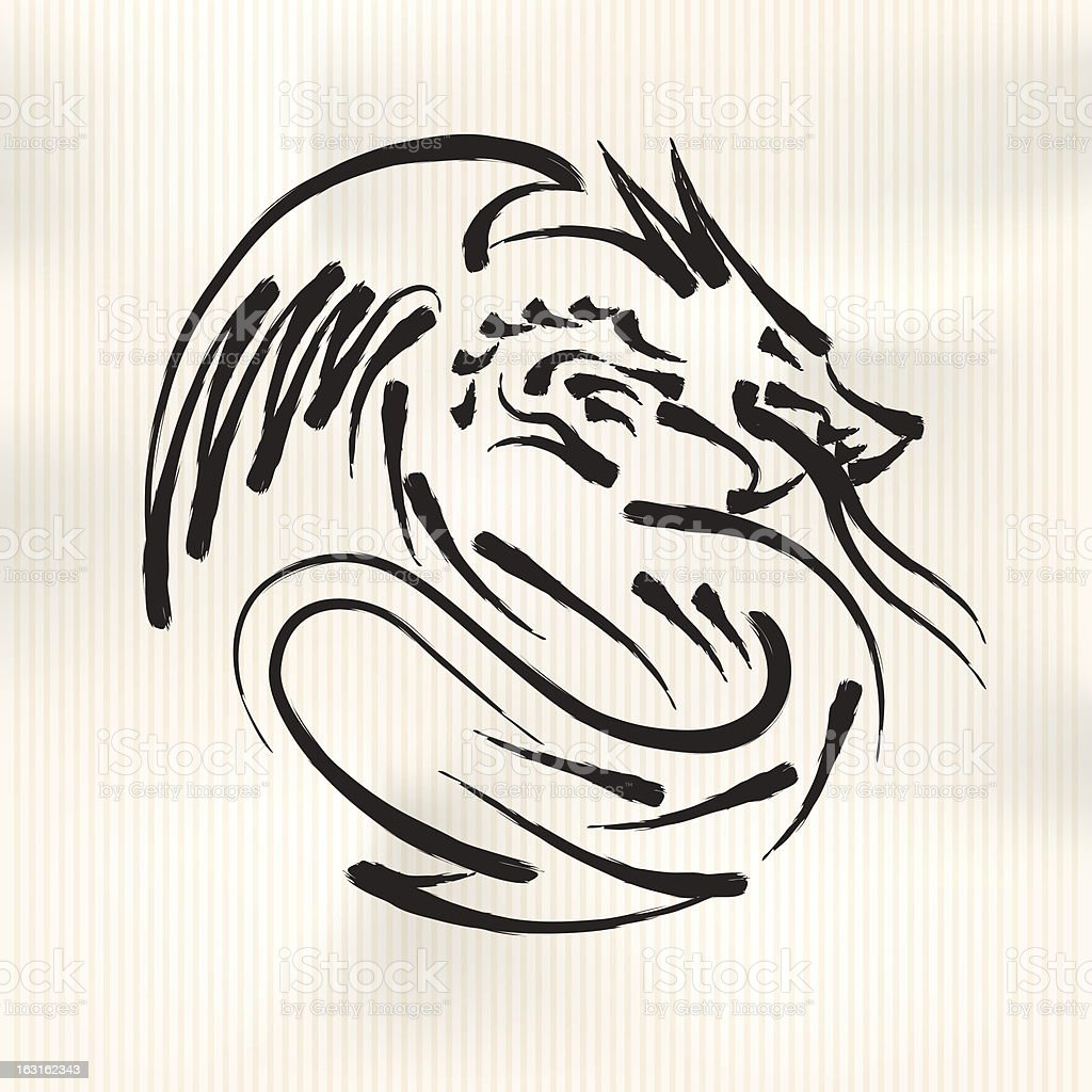 Chinese Calligraphy of Dragon royalty-free chinese calligraphy of dragon stock vector art & more images of animal