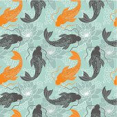 Chinese carps seamless pattern