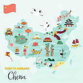 Chinese cartoon vector map with famous destinations, animals, landmarks, symbols, elements.