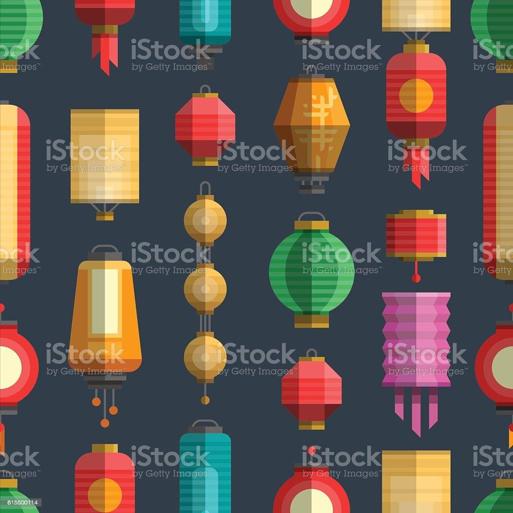 Chinese colorful lanterns seamless pattern vector art illustration