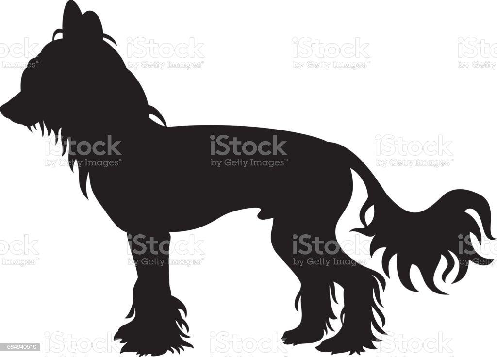 Chinesischer Schopfhund Vector Silhouette Lizenzfreies chinesischer schopfhund vector silhouette stock vektor art und mehr bilder von bildkomposition und technik