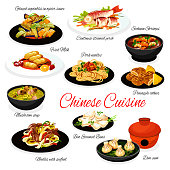 Chinese cuisine food with vector Asian dishes of seafood and meat noodles, steamed fish and buns bao, vegetables with oyster sauce. Mushroom soup, Szechuan shrimps, pineapple cookies and fried milk