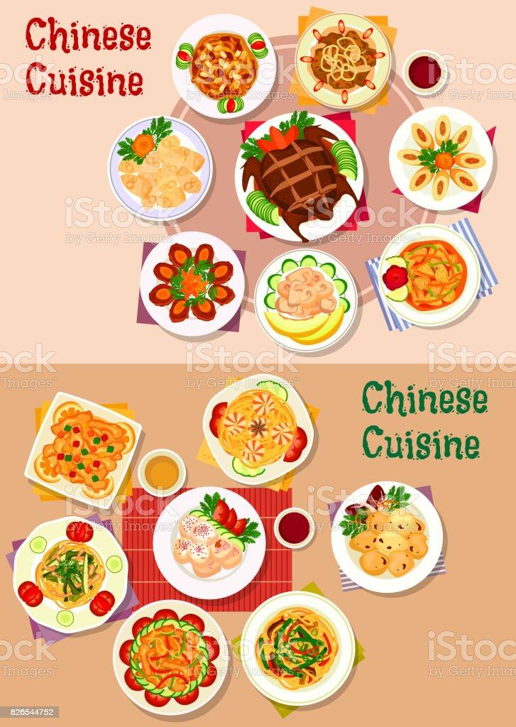 Icono de platos de cocina china de diseño de menú - ilustración de arte vectorial