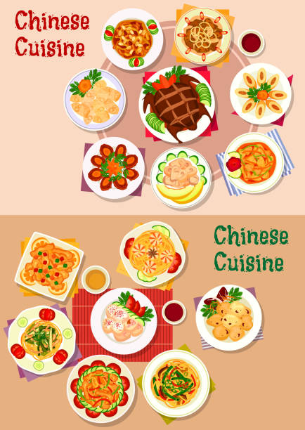 chinese cuisine dishes icon for menu design - chinese food stock illustrations, clip art, cartoons, & icons