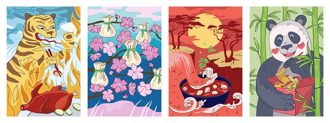 Chinese cuisine poster tiger with chopsticks eat peking duck. China national food banner dumplings dim sum or wonton. Oriental flyer soup dish mapo tofu. Panda hold noodle wok red box placard