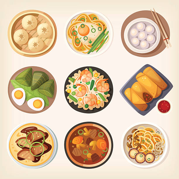 chinese cuisine - chinese food stock illustrations, clip art, cartoons, & icons