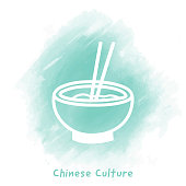 Vector bowl with chopsticks doodle sketch over watercolor background.