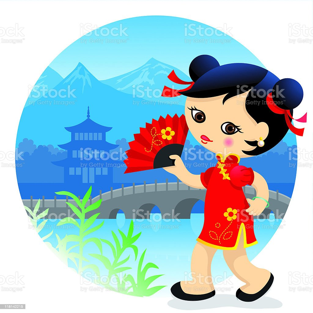 Chinese cute girl royalty-free stock vector art