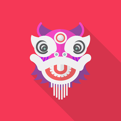 Chinese dancing dragon in flat style