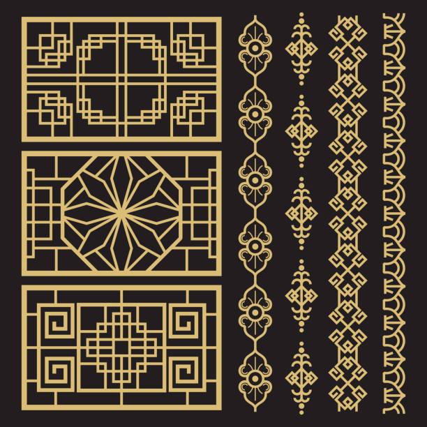 中国装飾、伝統的なアンティークの韓国のボーダーとフレーム - アジア点のイラスト素材/クリップアート素材/マンガ素材/アイコン素材