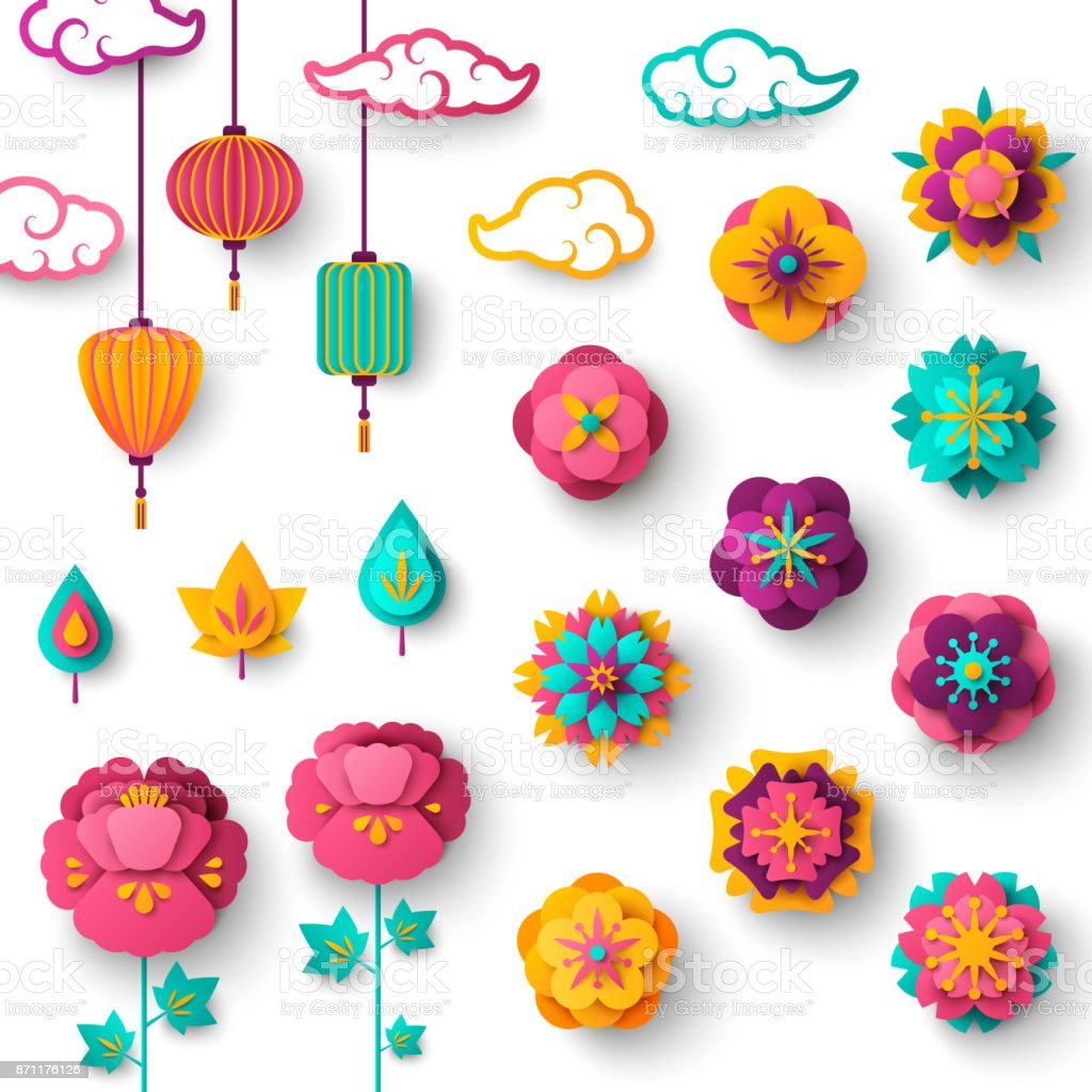 Chinese Decorative Icons Clouds, Flowers and Chinese Lanterns vector art illustration