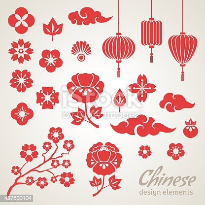 Chinese Decorative Icons - Clouds, Flowers and Chinese Lights. Vector Illustration. Sakura Branch. Peony Flowers. Chinese Lantern.