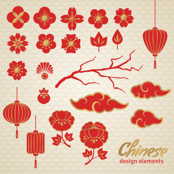 китайского декоративные иконки, облака, цветы и китайский свет. - chinese new year stock illustrations