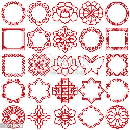 Set of Chinese decorative icons.