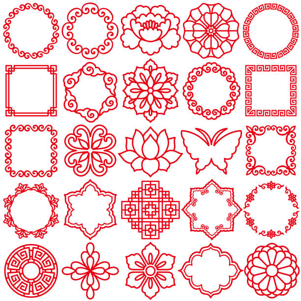 chinese decorative icons. - chinese new year stock illustrations