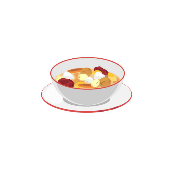 chinese dessert A bowl of chinese treaditional sweet dessert. jujube candy stock illustrations