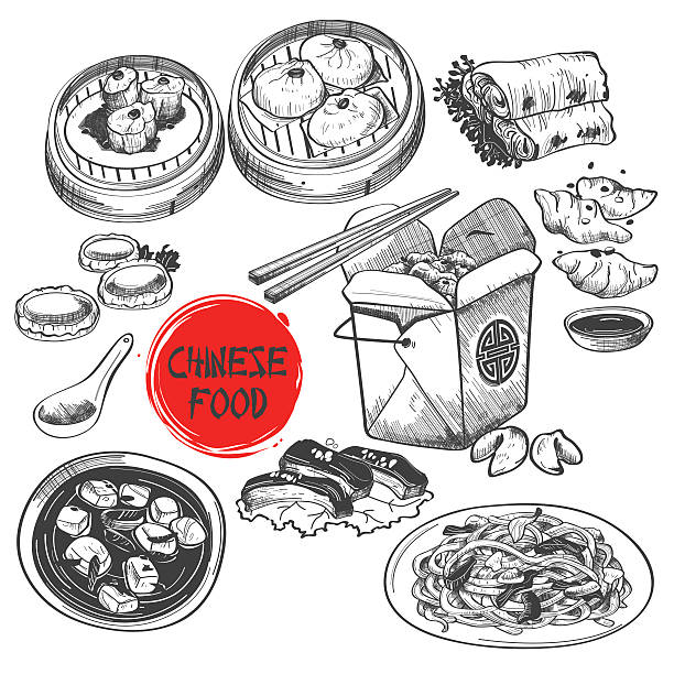 chinese dim sum dish in ink style - chinese food stock illustrations, clip art, cartoons, & icons