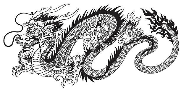 chinese dragon black and white - ilustración de arte vectorial