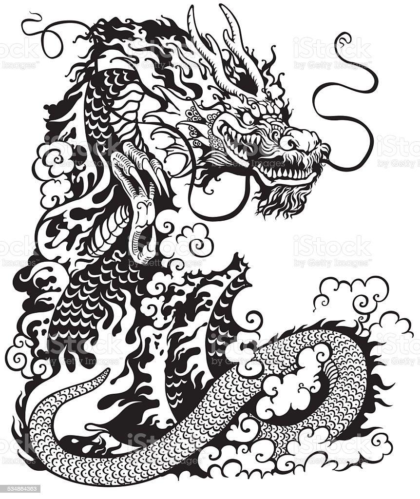 Ilustración De Dragón Chino Blanco Y Negro Y Más Banco De Imágenes