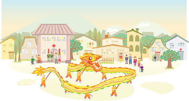 Chinese Dragon Dance show vector art illustration