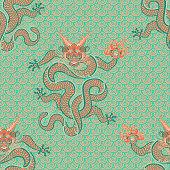 Китайский дракон. Змей. Векторная графика. Бесшовный узор