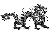 Chinese dragon. Hand drawn vector detailed silhouette.