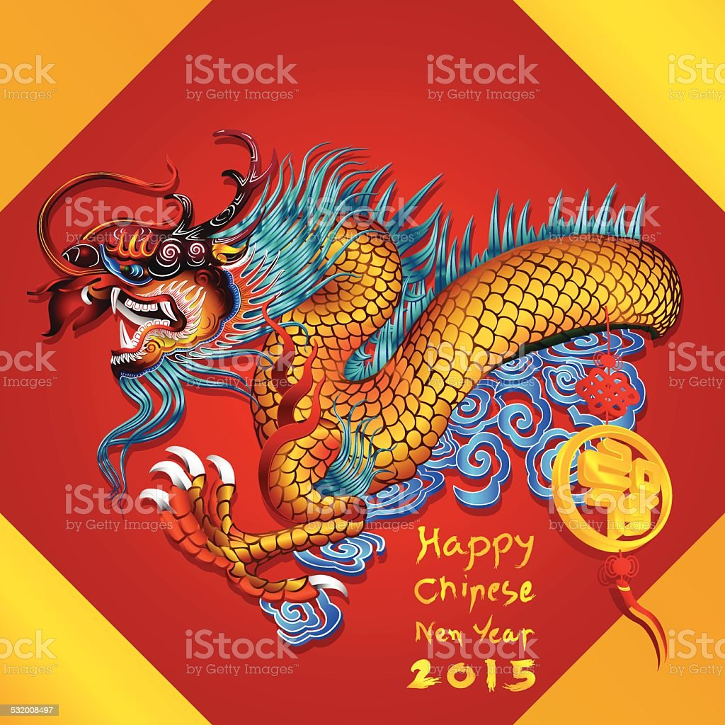 chinese dragon happy chinese new year with 2015 on red stock
