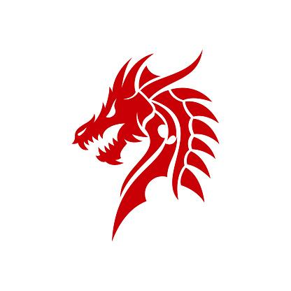 Chinese dragon head Tribal vector stock illustration Indonesia, Dragon, Snake, Logo, Head, China, Myth, Mythology
